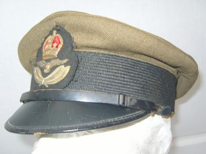 RAF First Pattern 1918 Officers Khaki cap.