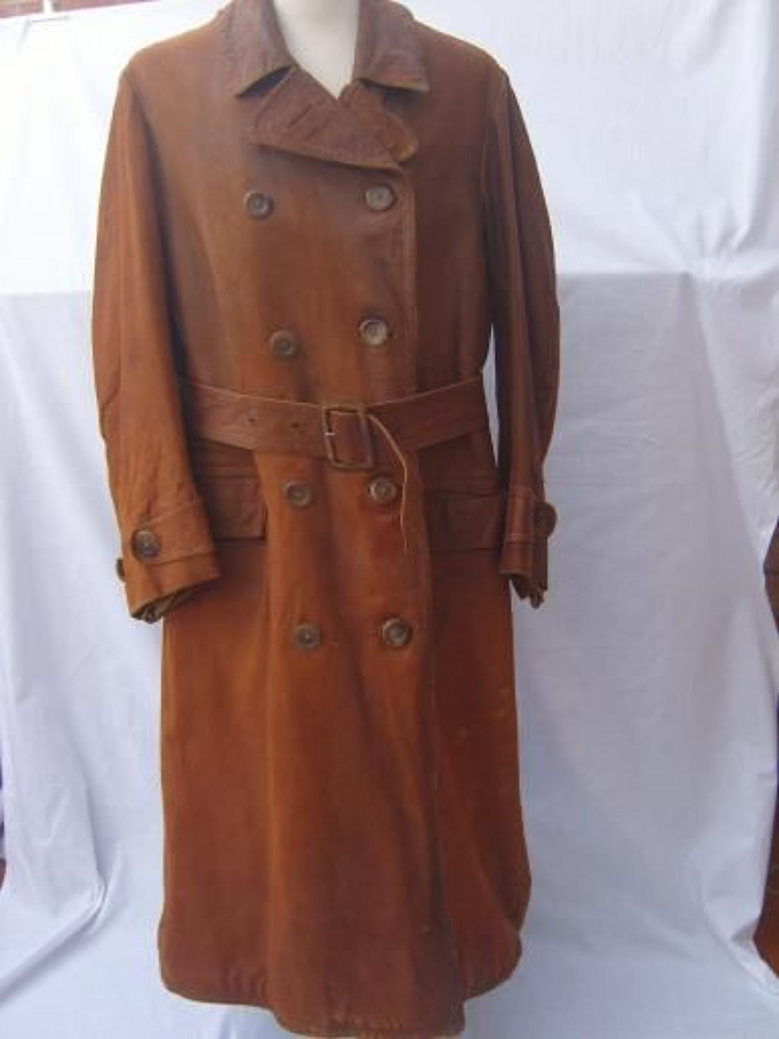 WW1 LONG LEATHER CAMEL COLOUR FLYING COAT