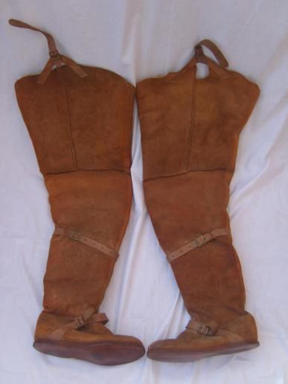 WW1 RFC Thigh Length Pair of 'Fug' Boots