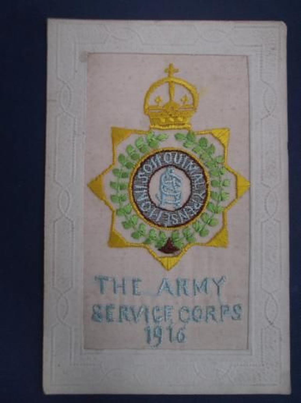 ARMY SERVICE CORPS 1916 SILK POSTCARD