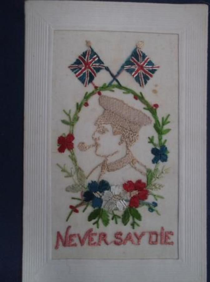 BRITISH SOLDIER SMOKING A PIPE: NEVER SAY DIE