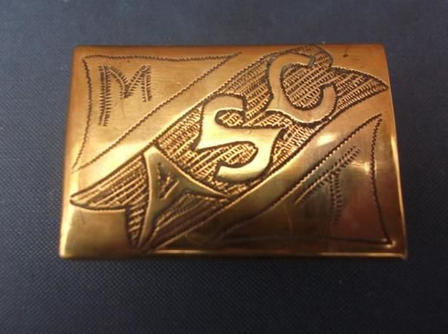 WW1 Trench Art Brass Matchbox: ARMY SERVICE CORPS