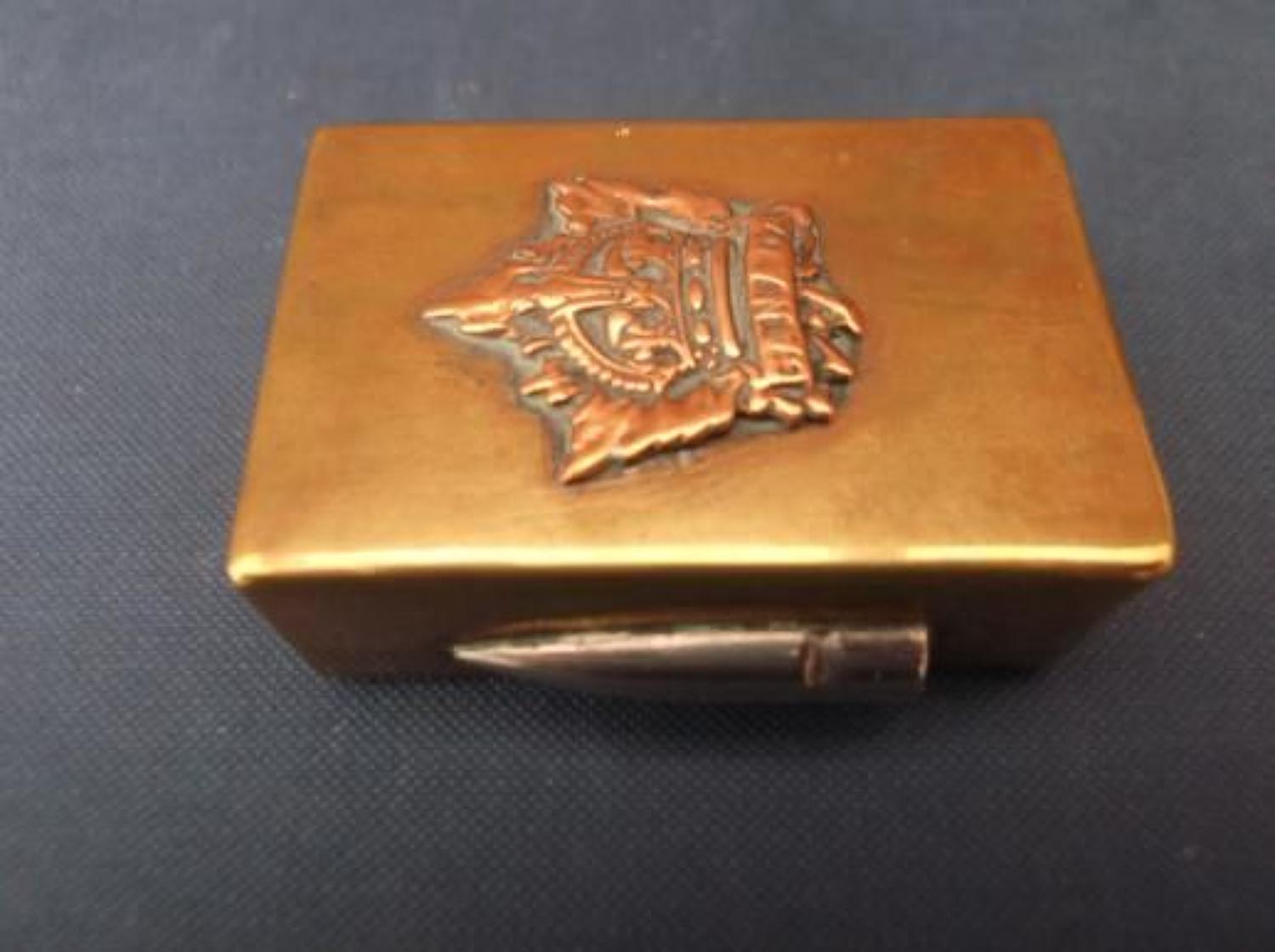 WW1 Trench Art Brass Matchbox cover CANADIAN ARMY