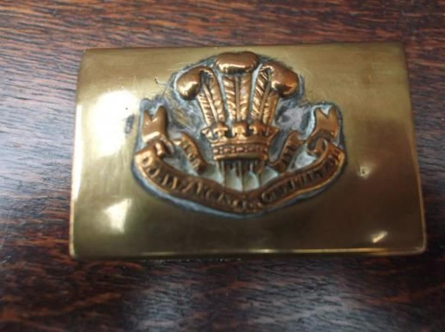 WW1 Trench Art Brass Matchbox cover of the Welsh Regiment.