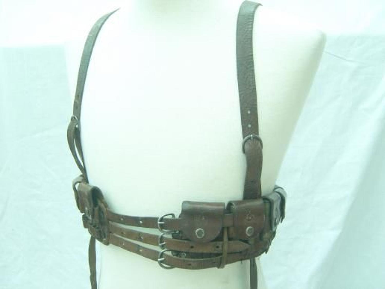 WWI OTTOMAN TURKISH ARMY LEATHER AMMUNITION BANDOLIER BELT