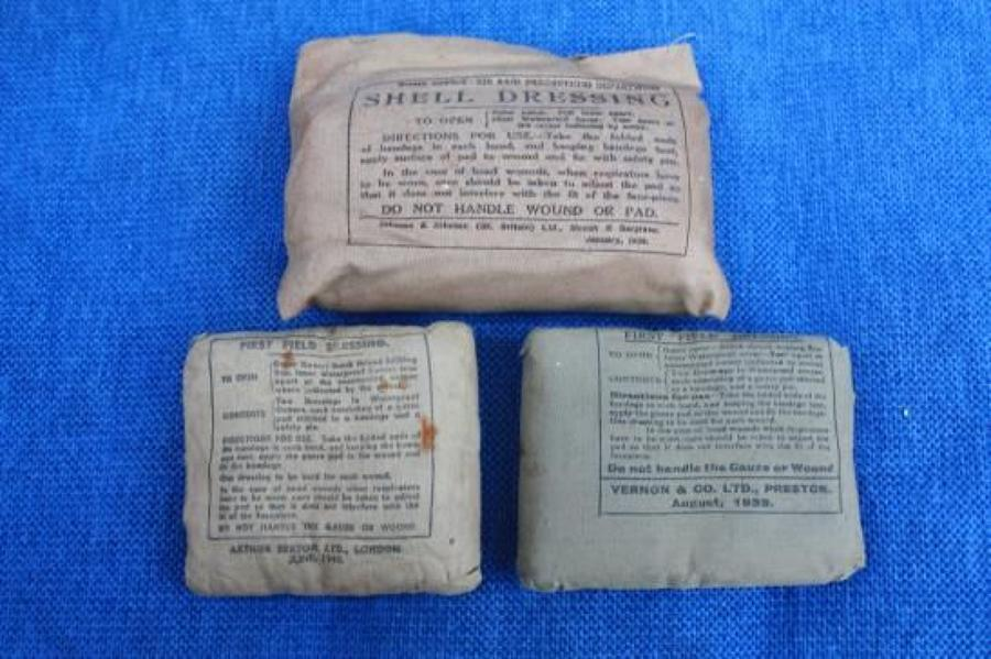 Three Original Unused WW2 British Field dressings dated 1938, 1939 & 1940