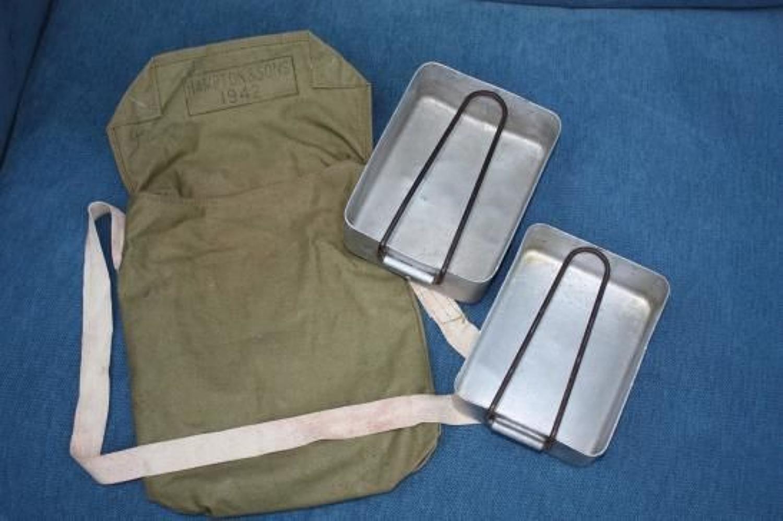 WW2 British Army 2-piece Mess-tin set & cotton pouch