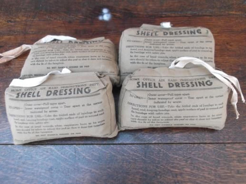 Four Original Unused WW2 British shell dressings dated 1938.