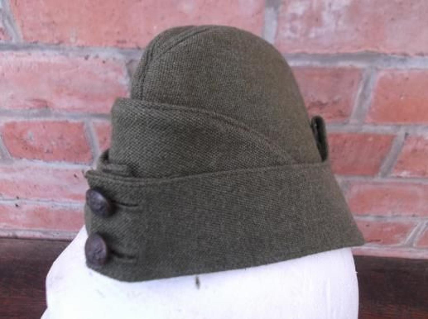 WW2 BRITISH OFFICERS KHAKI SIDE CAP UNWORN