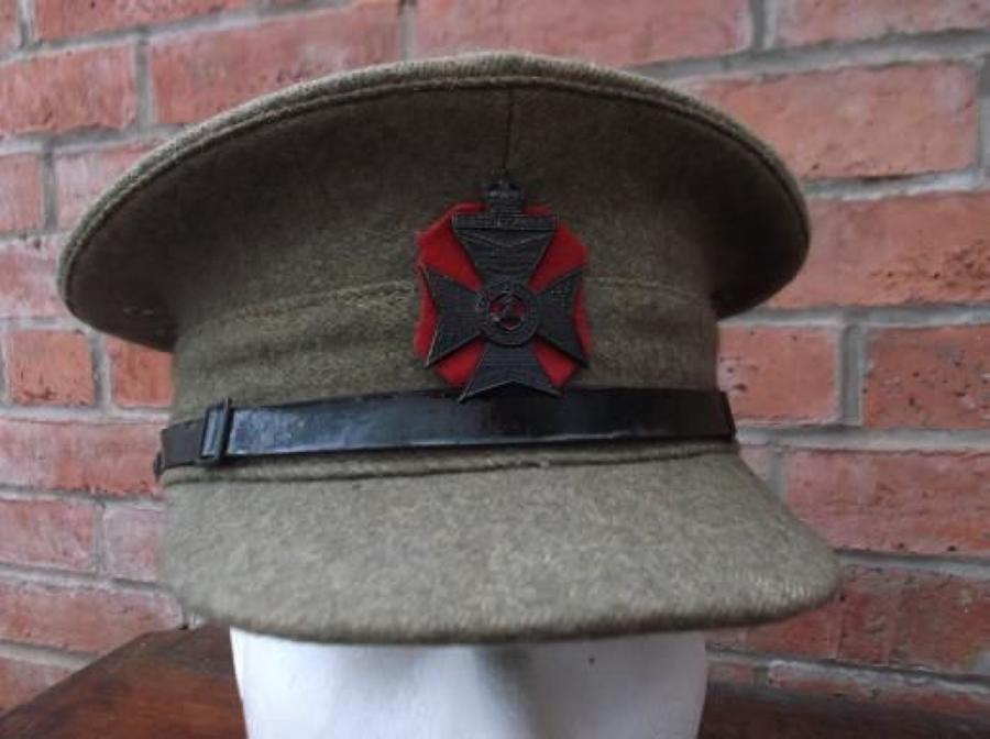 1922 PATTERN BRITISH KHAKI SERVICE DRESS CAP KINGS ROYAL RIFLE CORPS