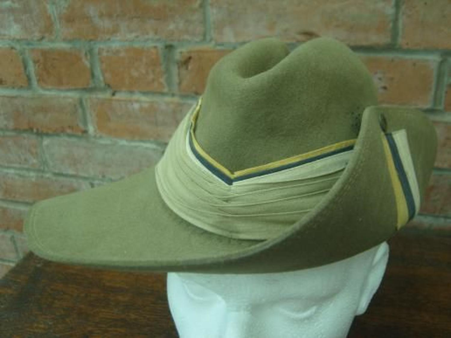 1945 South African made Slouch Hat. ASC flash