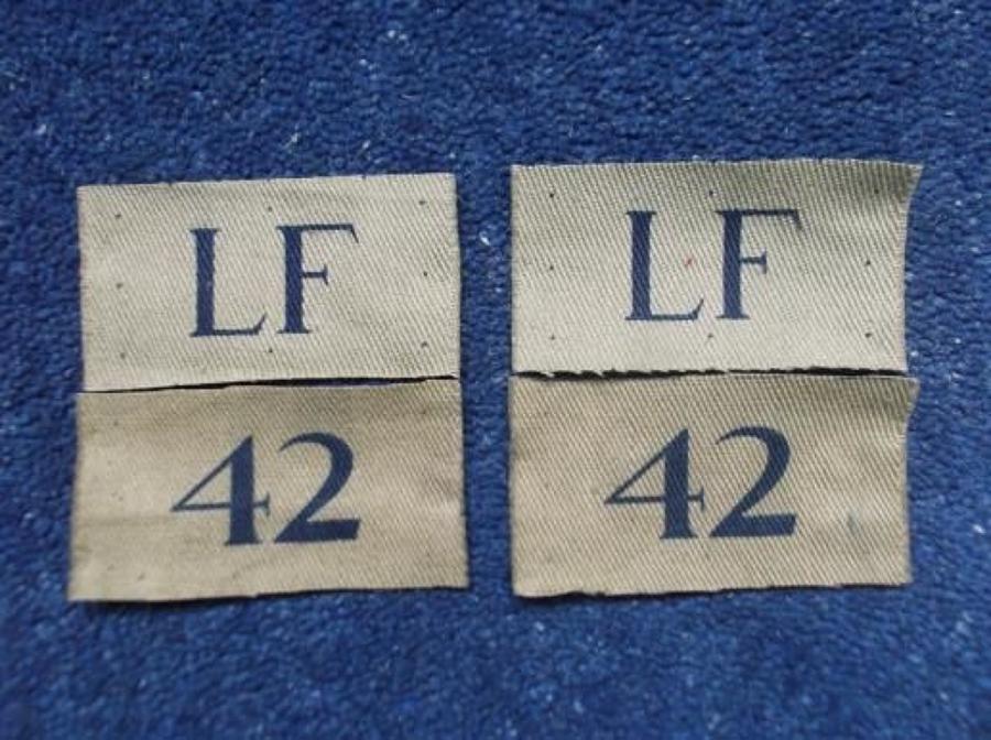 ORIGINAL WW2 KHAKI HOME GUARD ECCLES LF 42 DISTRICT BADGES