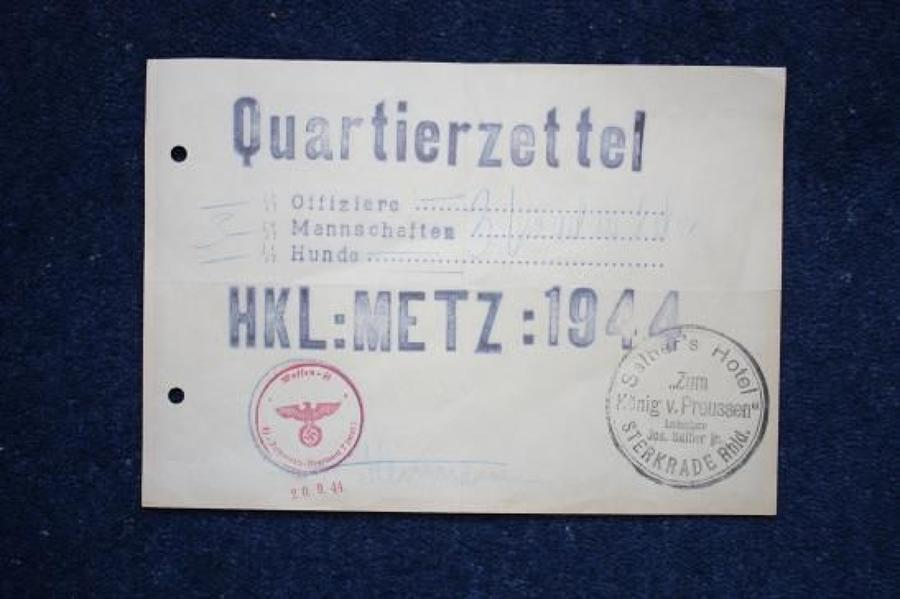1944 DATED GERMAN WAFFEN SS BILLET FORM METZ FRANCE.