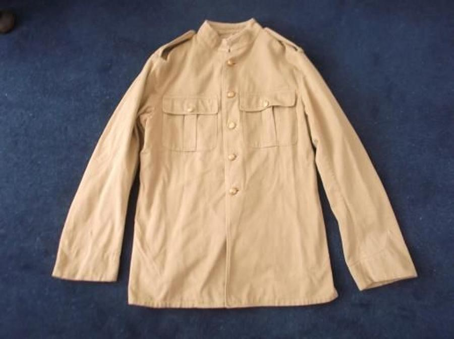 LATE WW1 PATTERN BRITISH OTHER RANKS KHAKI DRILL TUNIC