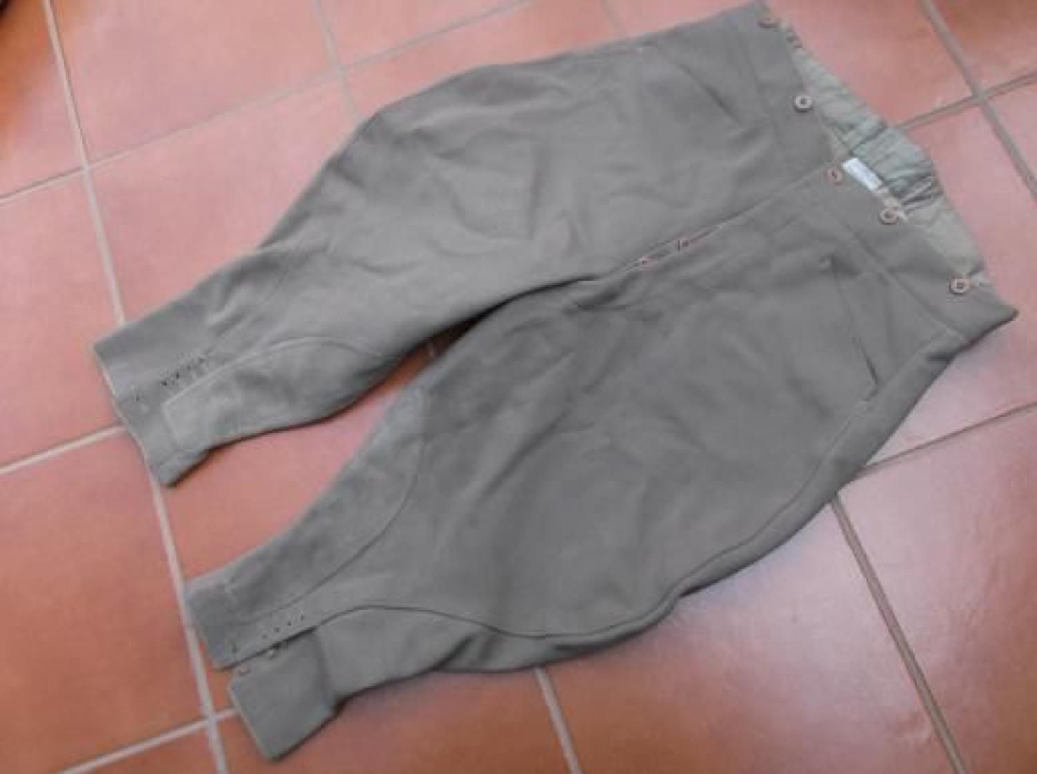 Good WW2 1941 dated cord breeches to a Cameronians Officer.