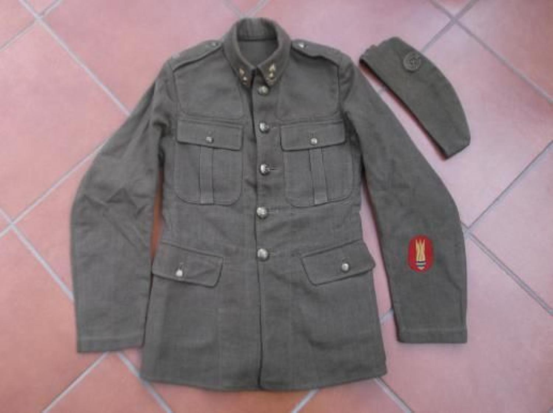 Early WW2 Bomb Disposal Sapper Service Dress Tunic & Side Cap
