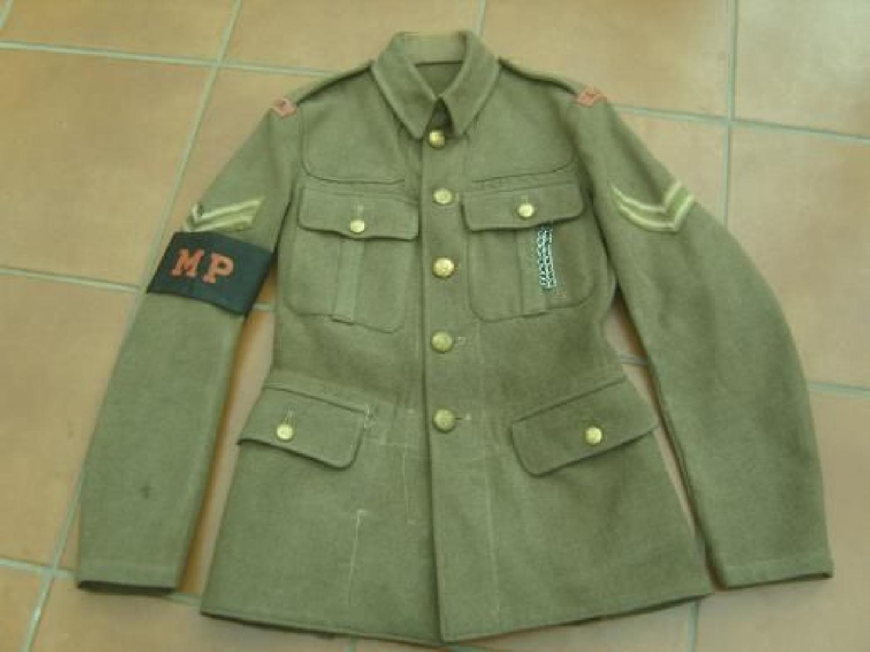 MILITARY POLICE 1922 PATTERN BRITISH KHAKI SERVICE DRESS TUNIC: