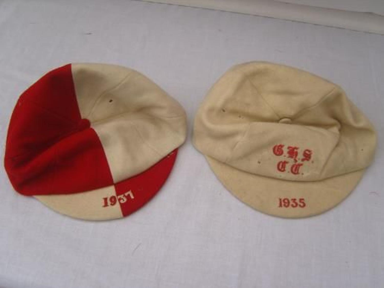 Pair of 1930's School Sporting caps.