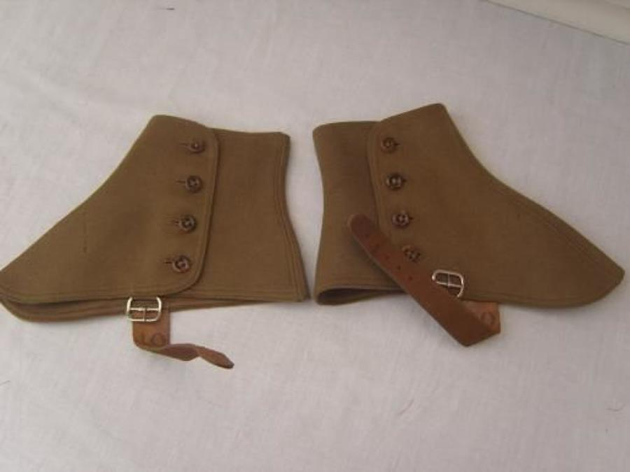 British Army fawn Gaiters / Spats