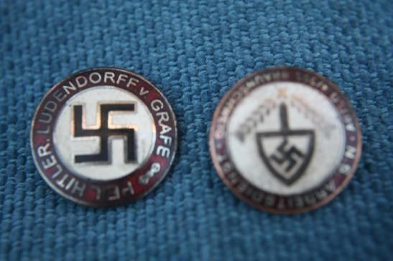 GERMAN NAZI MEMBERSHIP BADGES x 2