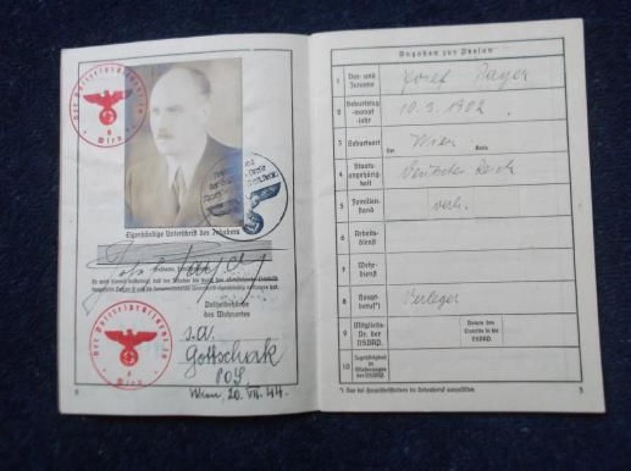 WW2 Nazi German 'Schriftleiter Ausweis' 1943/44 to Josef Payer