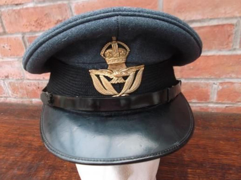 WW2 little worn Warrant Officers peak cap with brass RAF Kings Crown Badge.