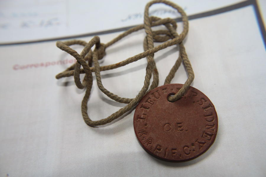 RFC FIBRE ID TAG TO 57th SQUADRON OBSERVER. KIA 1917