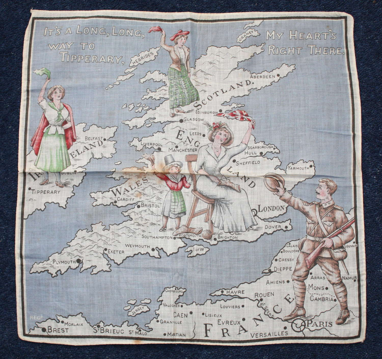 WW1 printed cotton souvenir handkerchief Souvenir Tipperary