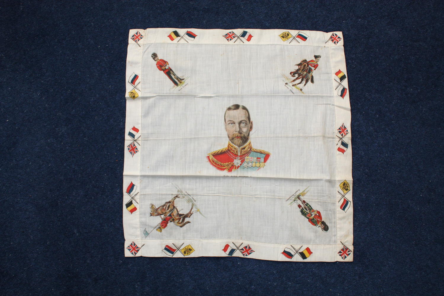 WW1 British Printed cotton handkerchief: King, flags & soldiers.