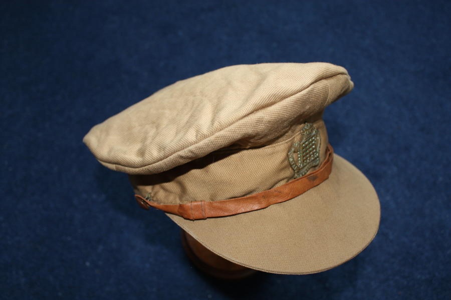WW1 BRITISH OFFICERS LIGHTWEIGHT KHAKI CAP: GLOUCESTERSHIRE HUSSARS