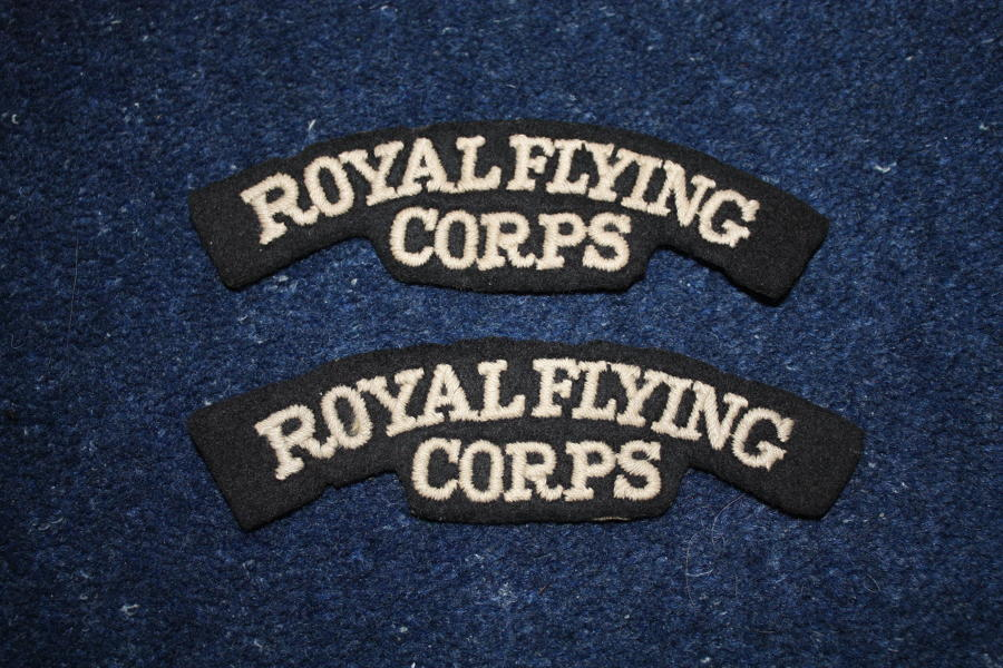 WW1 BRITISH ROYAL FLYING CORPS PAIR SHOULDER TITLES