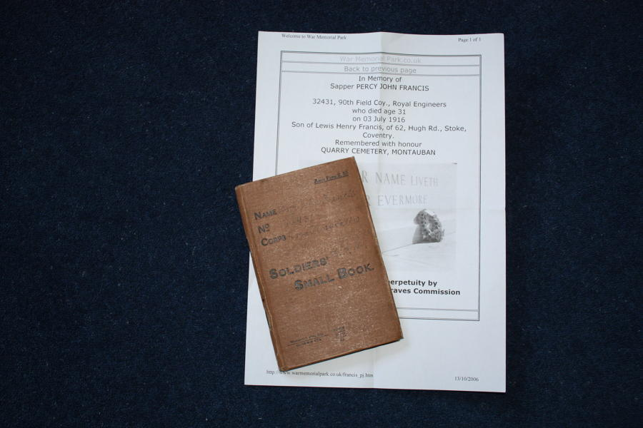 WW1 British Soldiers Small Book: Sapper Percy Francis KIA SOMME