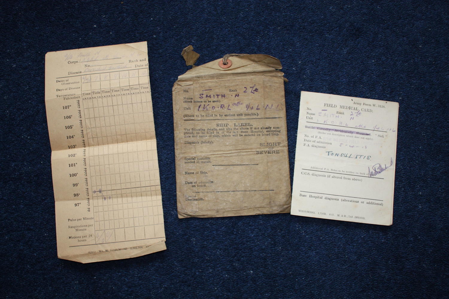 RARE WW1 BRITISH SOLDIERS MEDICAL CARD & SHIP LABEL