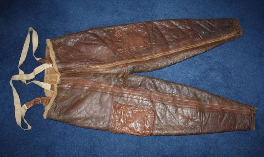 WW2 R.A.F. 'Irvin' Pattern leather flying trousers & Braces