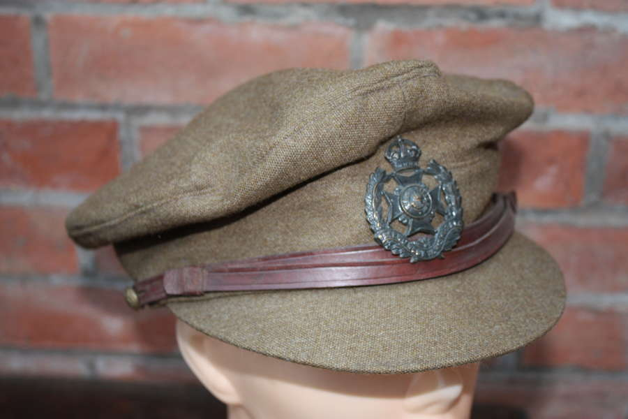 WW1 LEEDS RIFLES BRITISH OFFICERS FLOPPY STYLE KHAKI TRENCH CAP