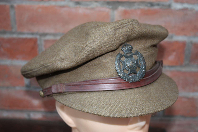 WW1 LEEDS RIFLES BRITISH OFFICERS FLOPPY STYLE KHAKI TRENCH CAP