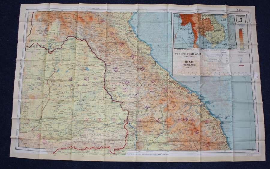 WW2 RAF AIRCREW ESCAPE MAP: SIAM & FRENCH INDO CHINA