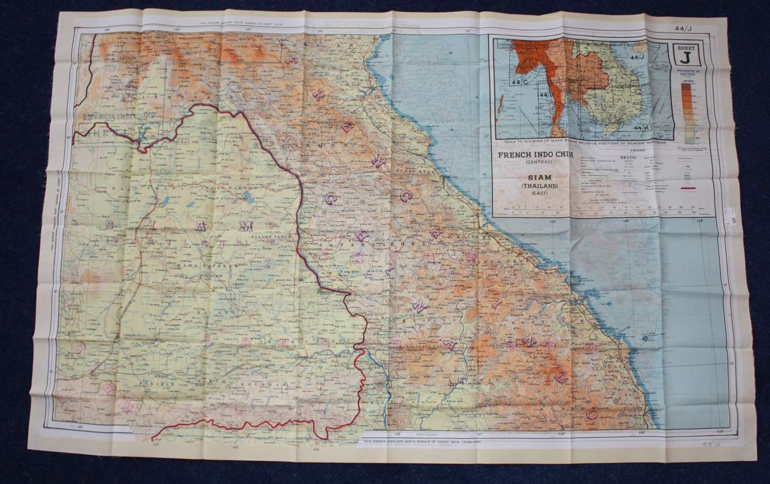 WW2 RAF AIRCREW ESCAPE MAP: SIAM & FRENCH INDO CHINA