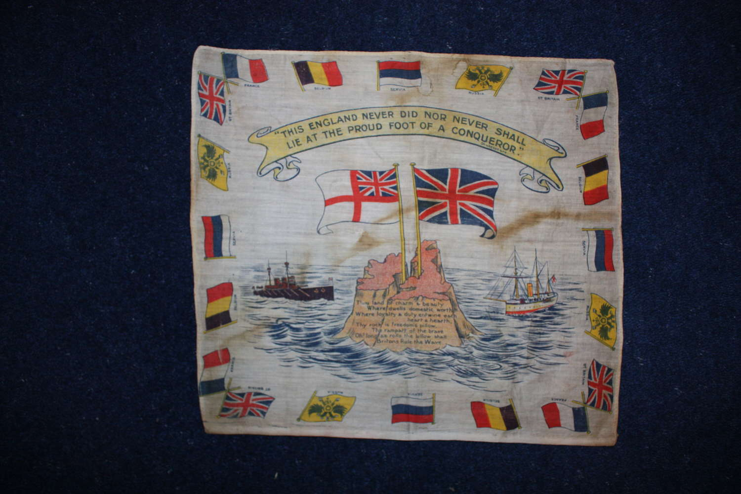 WW1 printed cotton handkerchief : Britain, Royal Navy & Allied Flags.