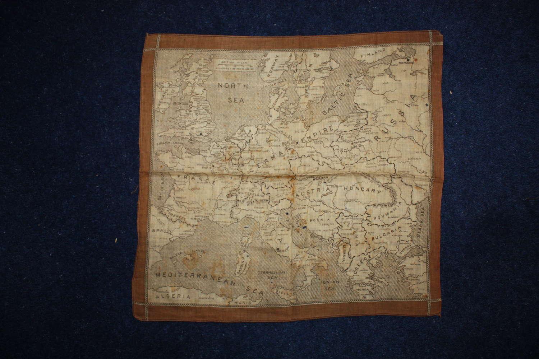 WW1 printed cotton souvenir handkerchief: Map of Europe.