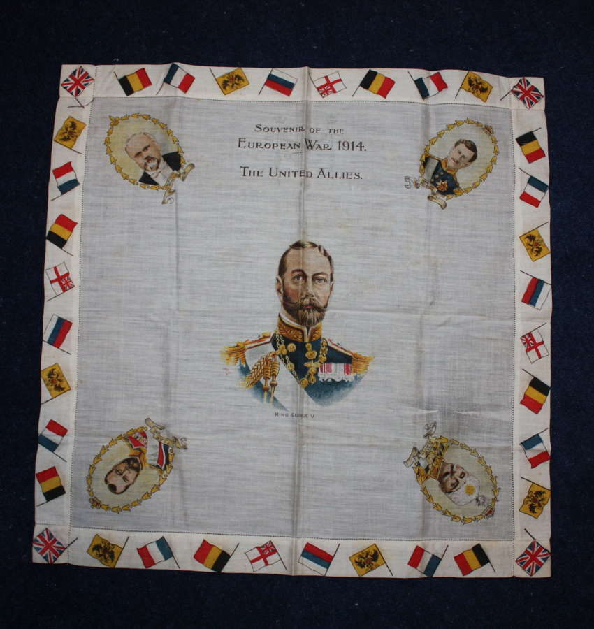WW1 printed cotton souvenir handkerchief: George V & Allied Leaders.