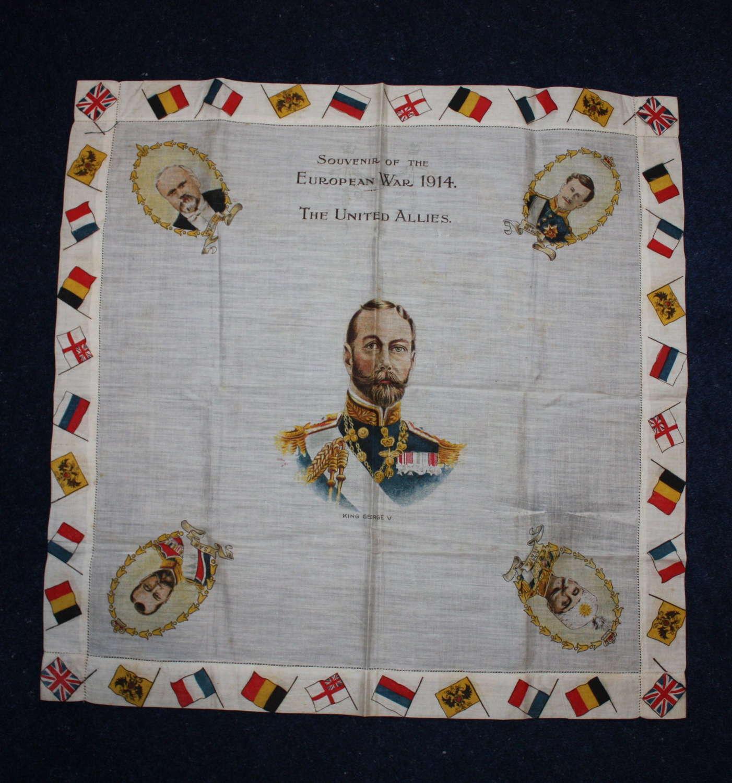 WW1 printed cotton souvenir handkerchief: George V & Allied Leaders.