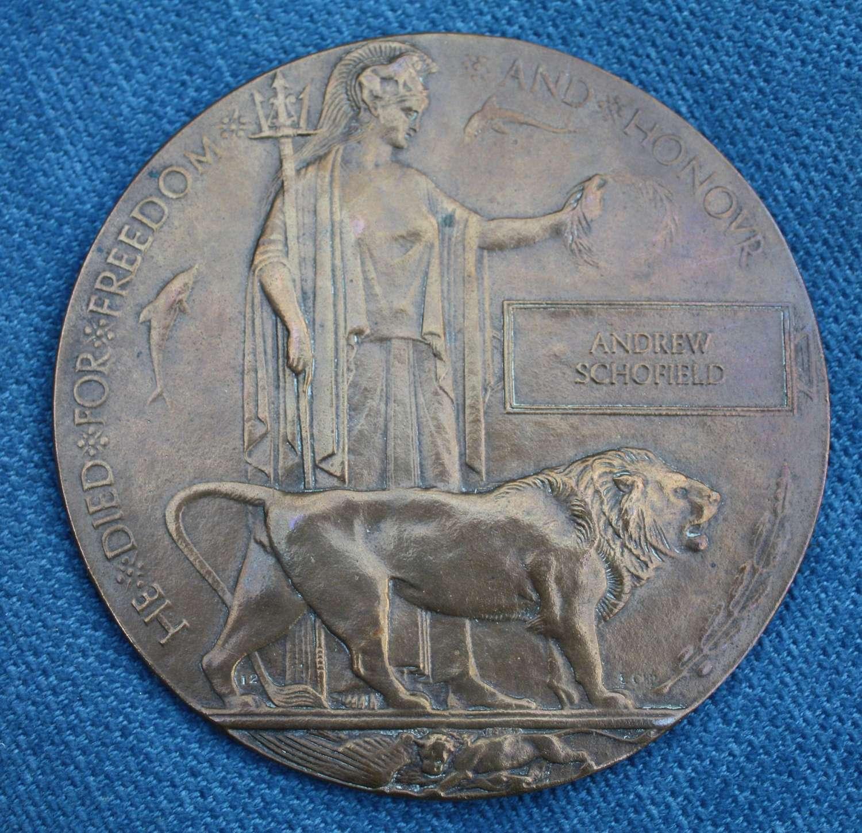WW1 British Death Plaque: Andrew Schofield died 1917 Passchendaele