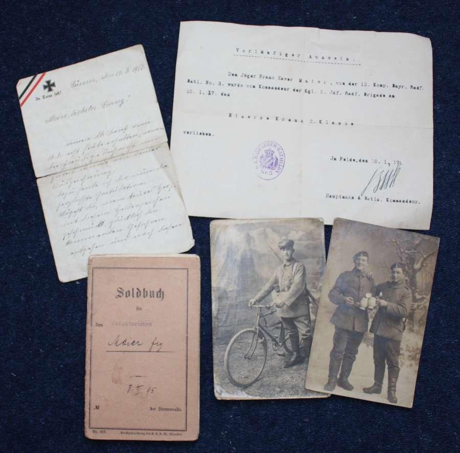 WWI German Army Soldbuch, Vorlaufiger Ausweis & Photographs