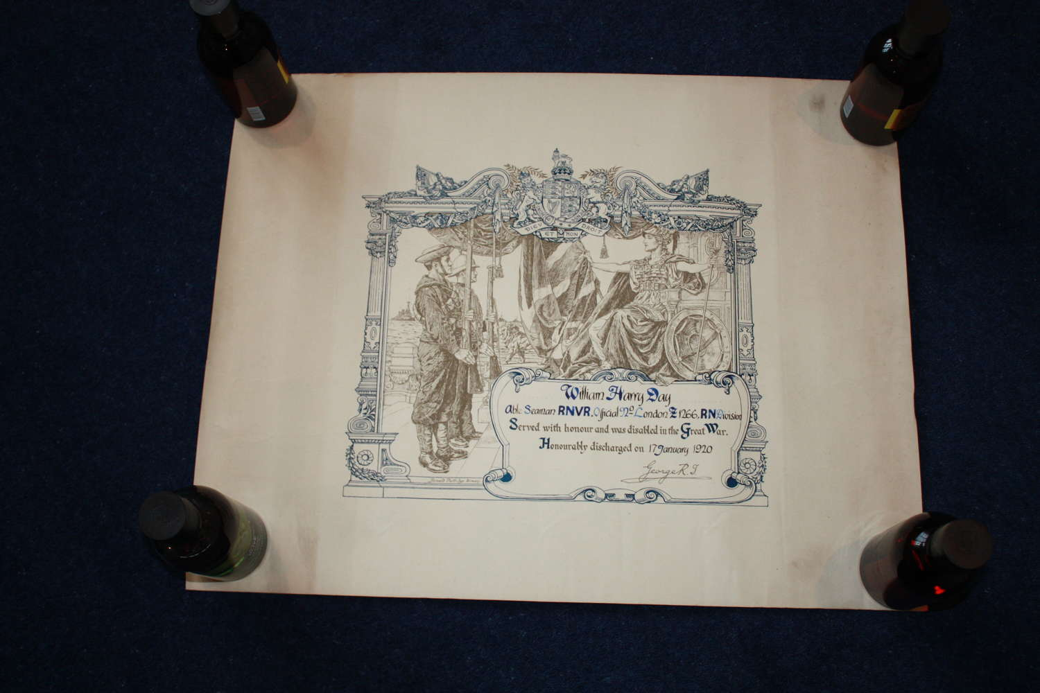 WW1 DISCHARGE CERTIFICATE: ROYAL NAVAL DIVISION