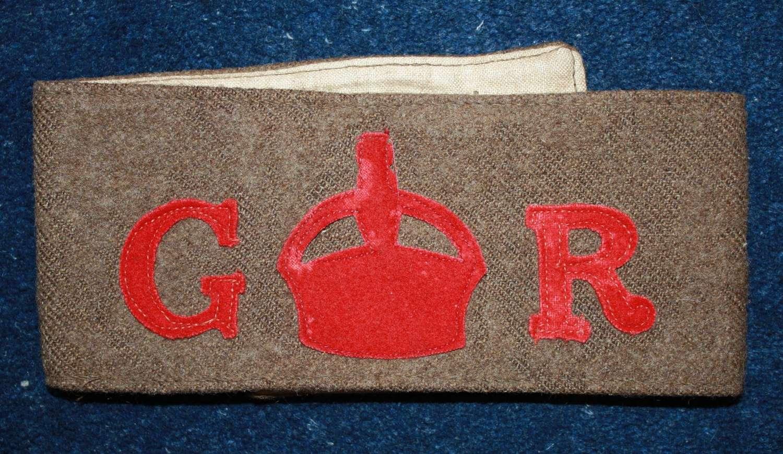 WW1 VTC (Volunteer Training Corps) GR Armband.