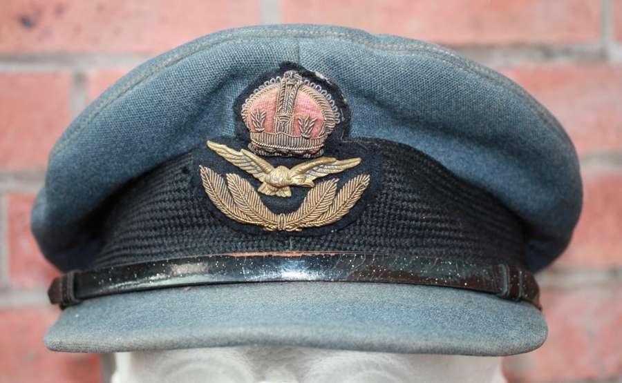 Original WW2 RAF Officers crusher style peak cap.