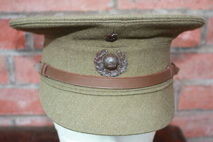 Rare WW1 Royal Marine Officers Khaki Service Dress Peak Cap