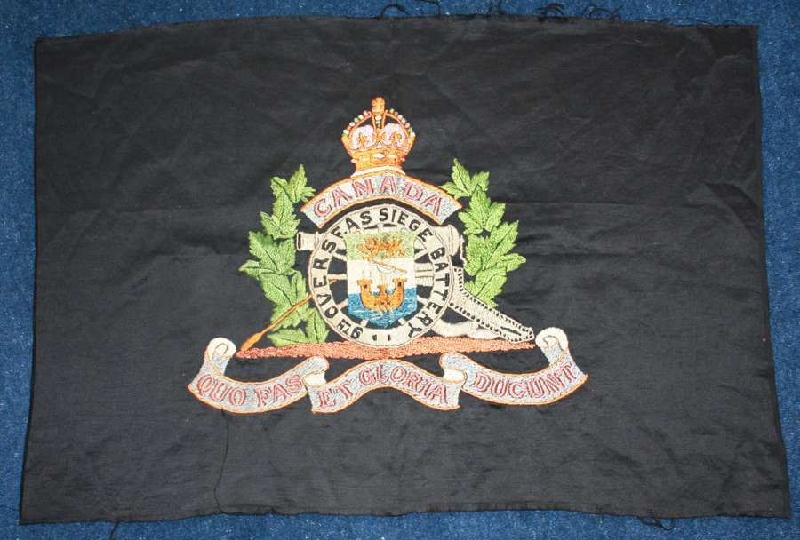 LARGE EMBROIDERED WW1 BADGE OF THE CANADIAN ARTILLERY
