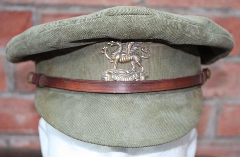 WW1 BUFFS REGIMENT: BRITISH OFFICERS FLOPPY STYLE KHAKI TRENCH CAP